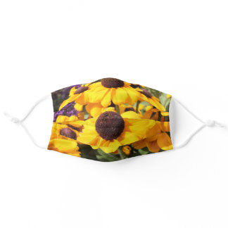 Bright yellow Black-Eyed Susan Blossoms Adult Cloth Face Mask