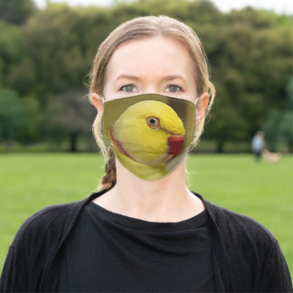 Bright Yellow Lutino Indian Ringneck Parrot Adult Cloth Face Mask
