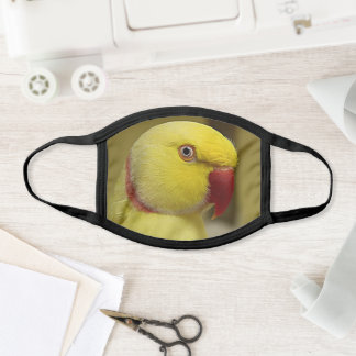 Bright Yellow Lutino Indian Ringneck Parrot Face Mask