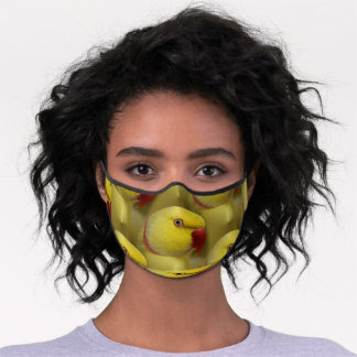 Bright Yellow Lutino Indian Ringneck Parrot Premium Face Mask