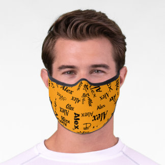 Bright Yellow Monogrammed First Name Cute Cool Premium Face Mask