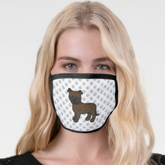 Brindle English Staffordshire Bull Terrier  & Paws Face Mask