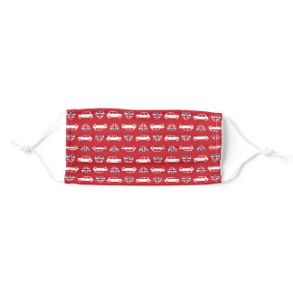 British Mini Cooper Hearts - Red Adult Cloth Face Mask