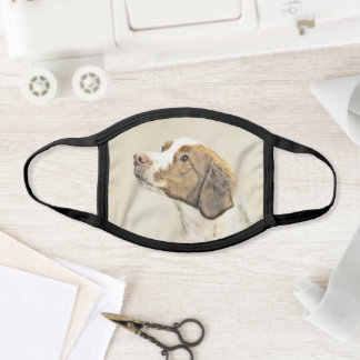 Brittany Painting - Cute Original Dog Art Face Mask