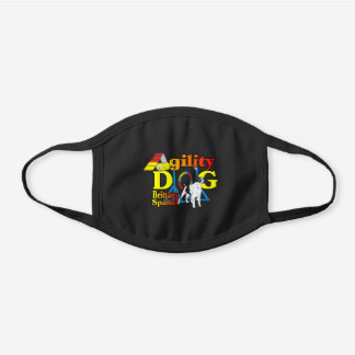 Brittany Spaniel Dog Agility Black Cotton Face Mask