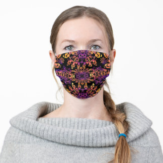 Bronze and Purple Abstract Mandala Pattern Adult Cloth Face Mask