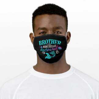 Brother Of The Birthday Mermaid Adult Cloth Face Mask