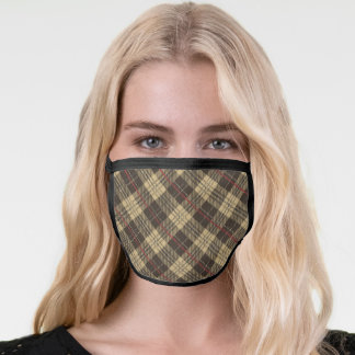 Brown and beige plaid pattern face mask