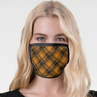 Brown and black plaid pattern face mask