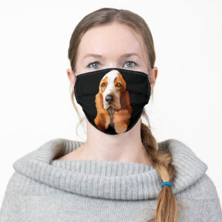 BROWN AND WHITE BASSET HOUND DOG ADULT CLOTH FACE MASK