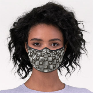 Brown and White Checkered Plaid Tartan Hearts Premium Face Mask