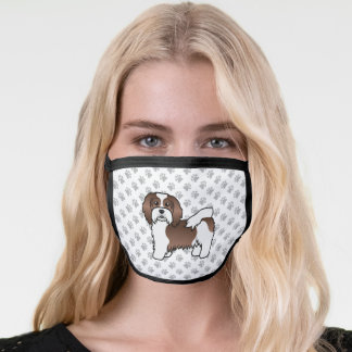 Brown And White Havanese Cute Cartoon Dog & Paws Face Mask
