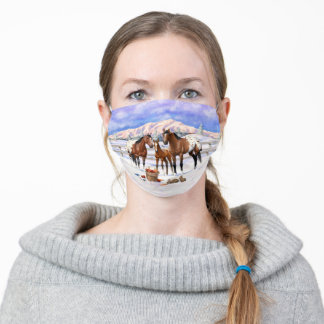 Brown Bay Appaloosa Horses On A Farm In Snow Adult Cloth Face Mask