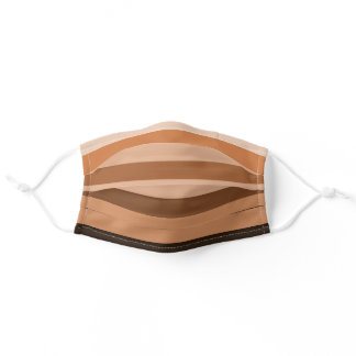 Brown Beige Monochrome Striped Pattern Adult Cloth Face Mask