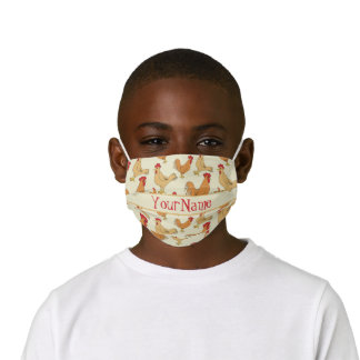 Brown Chicken Design Personalise Kids' Cloth Face Mask