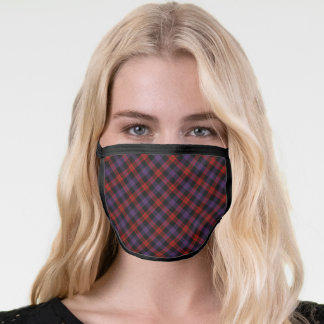 Brown clan tartan face mask