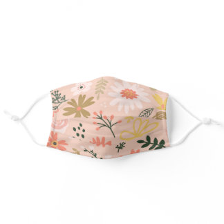 Brown Floral Adult Cloth Face Mask