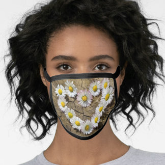 Brown Girly Daisy Heart Pattern Covid Safe Cloth Face Mask