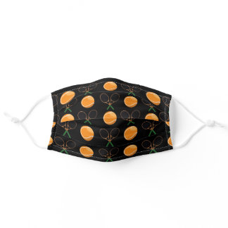Brown Green Tennis Rackets and Orange Balls Sports Adult Cloth Face Mask