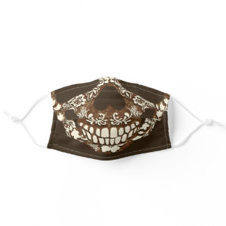 Brown Ivory Halloween Costume Skull Adult Cloth Face Mask