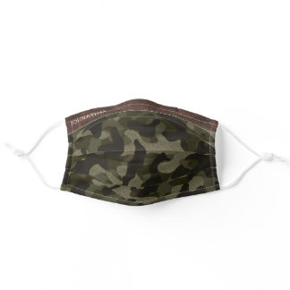 Brown Leather & Army Green Camouflage Pattern Adult Cloth Face Mask