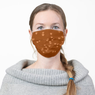 Brown Orange Hearts Pattern Cute Adult Cloth Face Mask