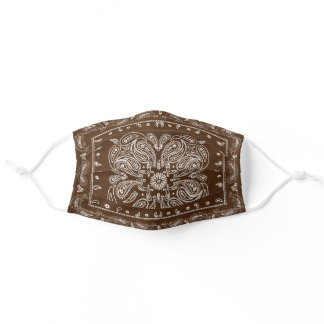 Brown Paisley Print Bandana Custom Color Adult Cloth Face Mask