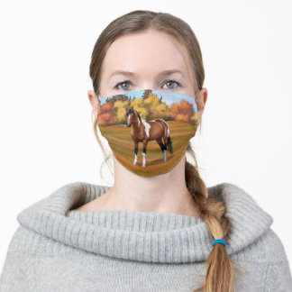 Brown Pinto Bay Paint Quarter Horse Stallion Adult Cloth Face Mask