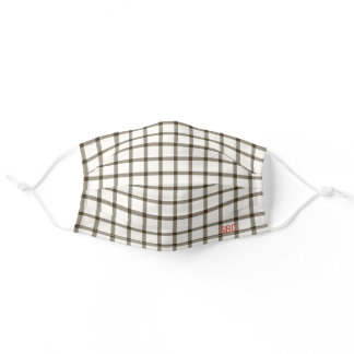 Brown Plaid Tartan Monogram in Fall Colors Adult Cloth Face Mask