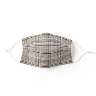 Brown Red Orange Dark Green Gray Checks Plaid Adult Cloth Face Mask