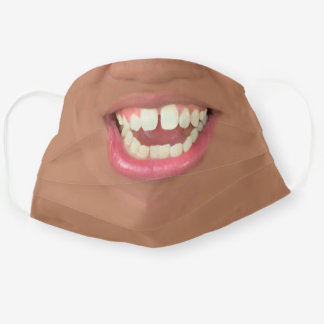 Brown Skin Smiling Mouth -Youth Cloth Face Mask