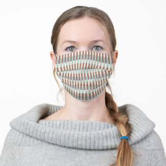 Brown Tan Blue Stripes Adult Cloth Face Mask