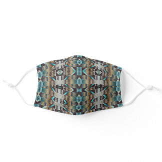 Brown Taupe Turquoise Blue Native Tribal Pattern Adult Cloth Face Mask