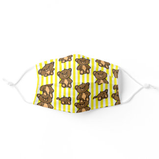 Brown Teddy Bear and Yellow Stripes Adult Cloth Face Mask
