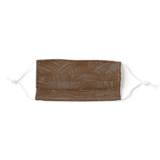 Brown Tropical Camo Palm Leaf Pattern Monogram Adult Cloth Face Mask
