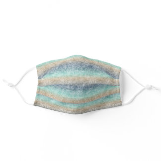 Brown Turquoise Dark Blue Ombre Batik Stripes Adult Cloth Face Mask
