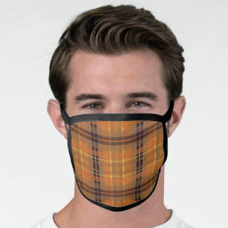 Brown Twill Plaid Face Mask
