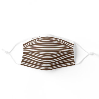 Brown & White Stripes Pattern + Your Name On Adult Cloth Face Mask