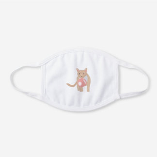 Bubble Gum Cat Blowing Bubble White Cotton Face Mask