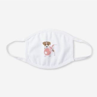 Bubble Gum Dog Blowing Bubble White Cotton Face Mask