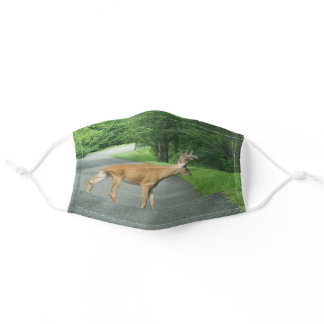 Buck Crossing the Road Adult Cloth Face Mask