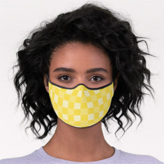 Buffalo Checks Pattern in Goldenrod Yellow | White Premium Face Mask