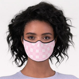 Buffalo Checks Pattern - Light Pink | White Premium Face Mask