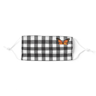 Buffalo Plaid and Orange Butterfly Adult Cloth Face Mask