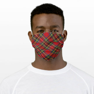 Buffalo Plaid Red with Yellow Pin Stripes Adult Cloth Face Mask
