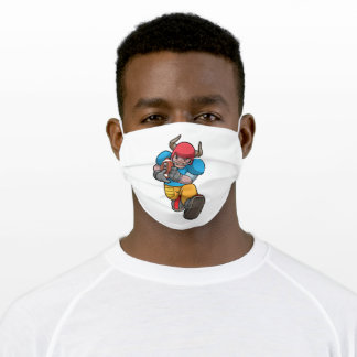 Bull at Sports with Football & Helmet Adult Cloth Face Mask