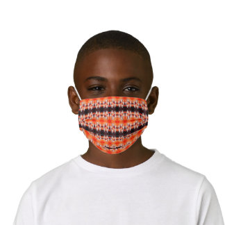 Bull Skull Orange Brown Western Country Pattern Kids' Cloth Face Mask