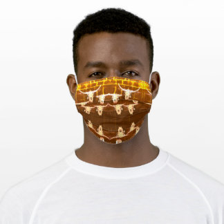 Bull Skull Western Country Brown Yellow Rustic Adult Cloth Face Mask