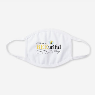 Bumble Bee White Cotton Face Mask