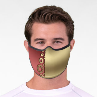 Burgundy And Gold Gears Premium Face Mask